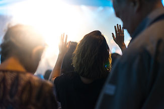 Christian worship with raised hand and p