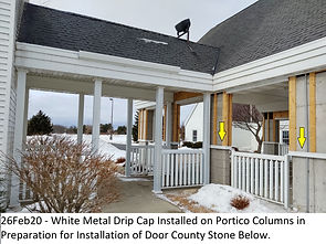 26Feb20 - Portico Stone Drip Cap Install