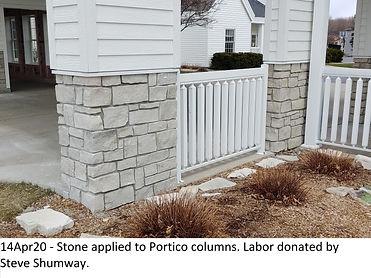 14Apr20 Stone Applied to Portico Columns