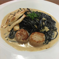 Squid Ink Udon with Creamy Sauce
