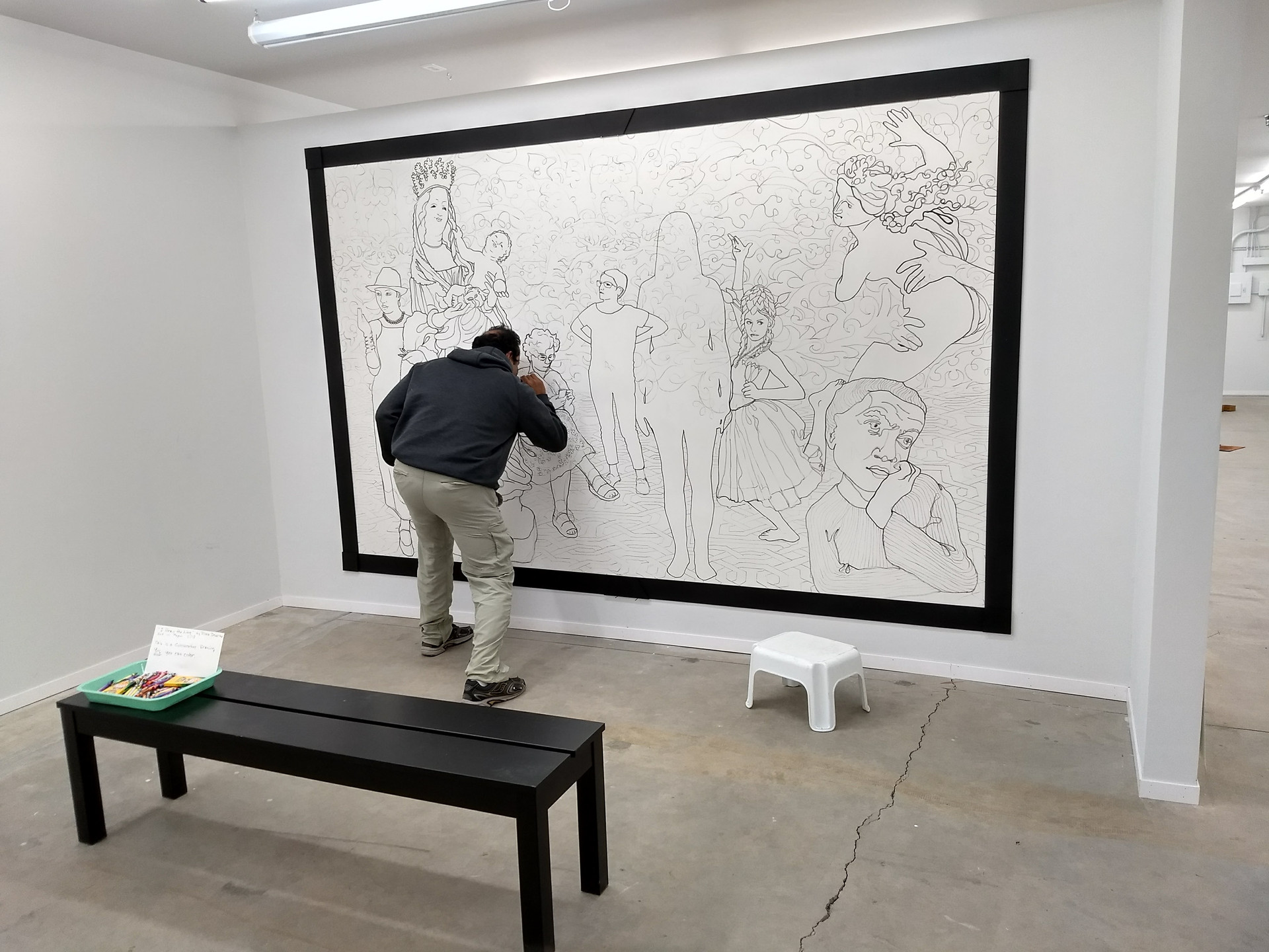 """Axis Gallery visitor adds the first color to """"I Draw the Line"""""""