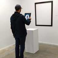 """Visitor gazing at """"Jo Bliss, Come Back, Come Back"""""""