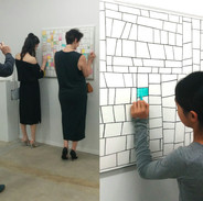 """Axis Gallery visitors color-collaborate on the """"Pattern Surprise Coloring Quilt"""""""