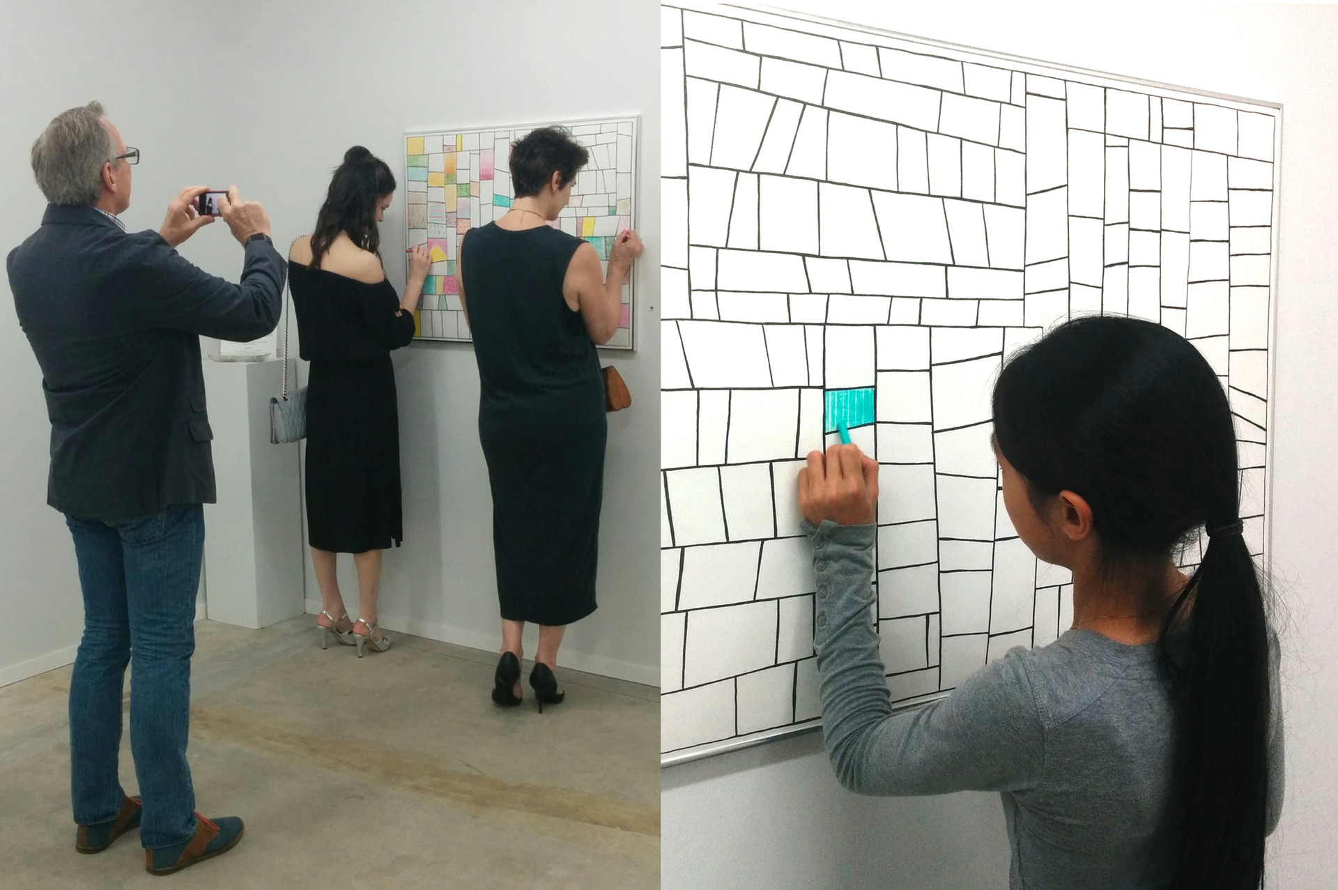"""Axis Gallery visitors color-colaborate on the """"Pattern Surprise Coloring Quilt"""""""