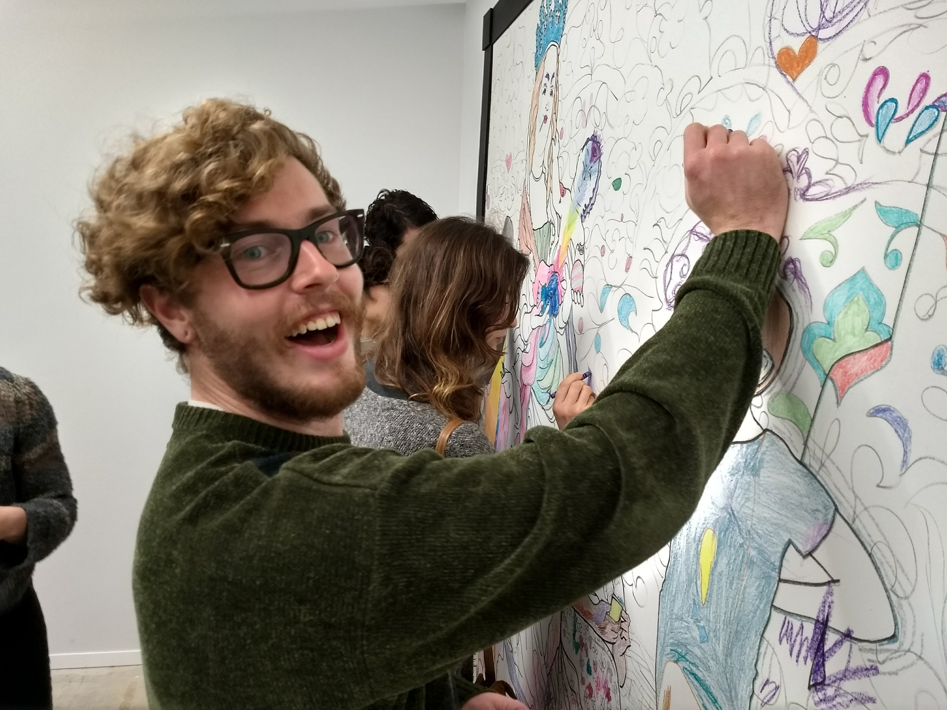 """Axis Gallery visitor adds color to """"I Draw the Line"""""""