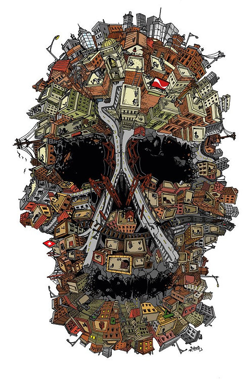 Skull City Color Print - Large
