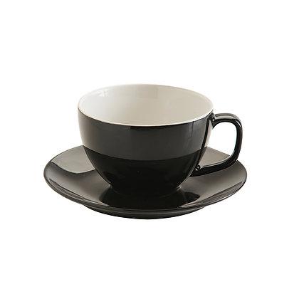 Taza con plato negra