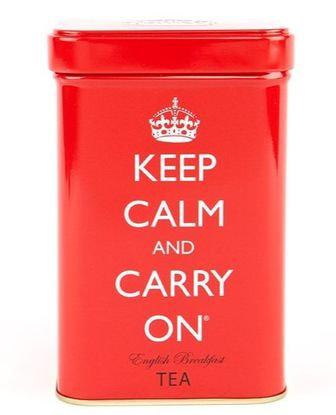 Lata Roja Keep Calm con té