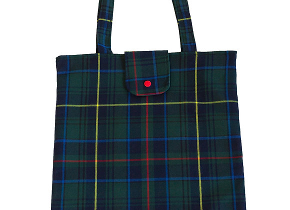 Bolso shopper cuadros escoceses verde