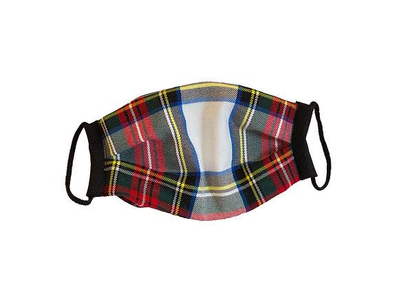 Cubre Mascarilla Cuadros Escoceses Fondo Blanco