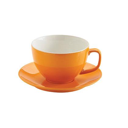Taza con plato naranja