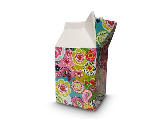 Jarra estilo cartón flores colores