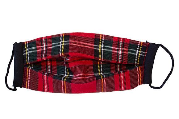 Cubre Mascarilla Cuadros Escoceses Rojo
