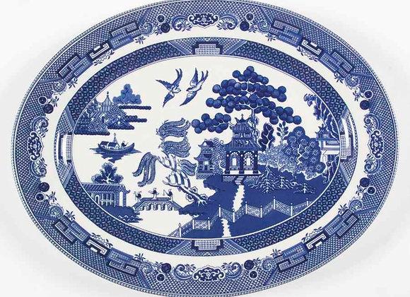 Fuente ovalada Blue Willow 31 cm