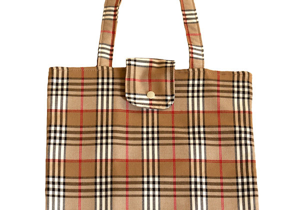 Bolso Shopper Cuadros Escoceses Beig