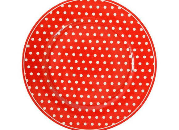 Plato postre rojo lunares