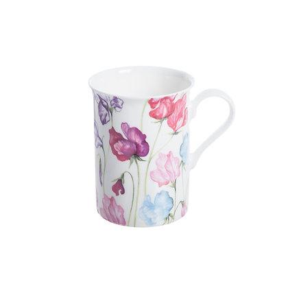 Taza porcelana flores rosas