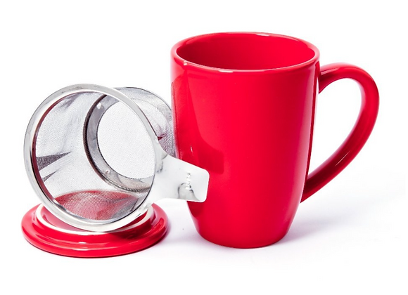Taza roja con filtro y tapa