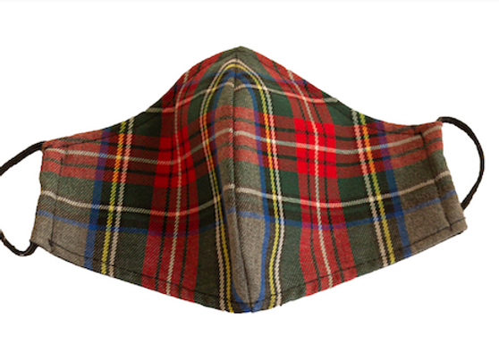 Cubre Mascarilla Cuadros Escoceses Gris