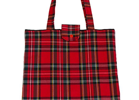 Bolso Shopper Cuadros Escoceses Rojo