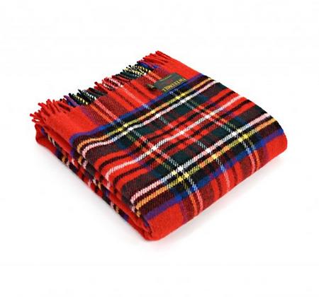 Manta sofá tartán roja