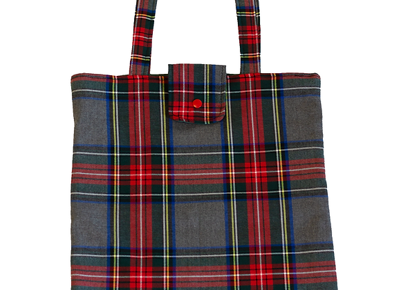 Bolso Shopper Cuadros Escoceses Rojo/Gris