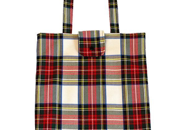 Bolso shopper cuadros escoceses fondo blanco