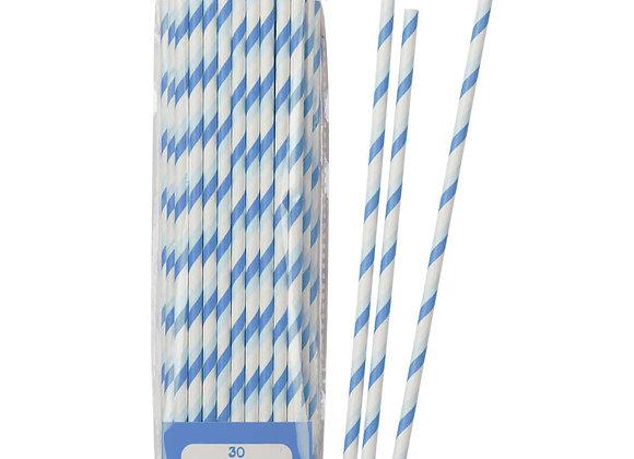 30 Pajillas papel azul