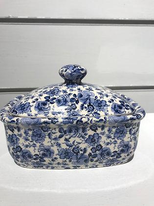 Mantequillera Porcelana Flores Azules