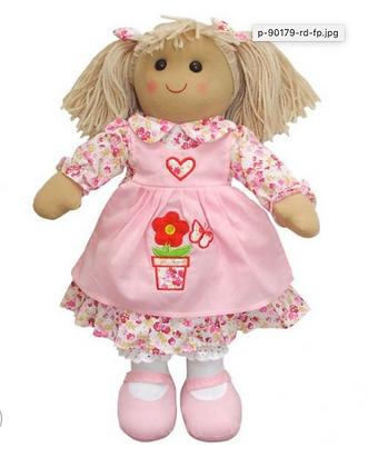 Muñeca de trapo floral rosa