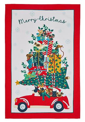Paño algodón Christmas Car