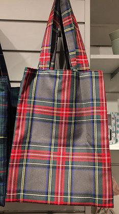 Bolso shopper cuadros escoceses roja/gris