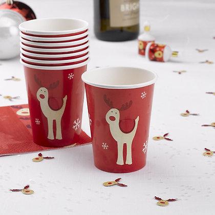 "8 Vasos de Papel ""Rudolf"""