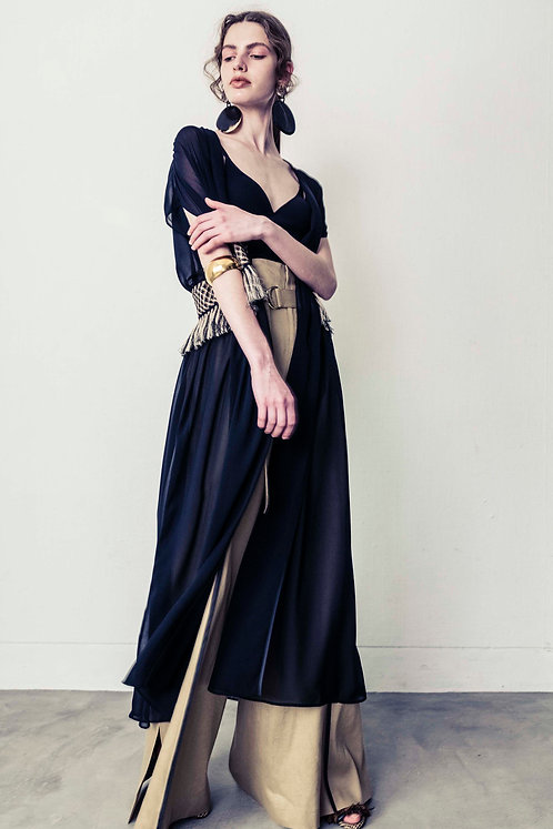 Chiffon Fringe Dress (BLACK)【受注生産】