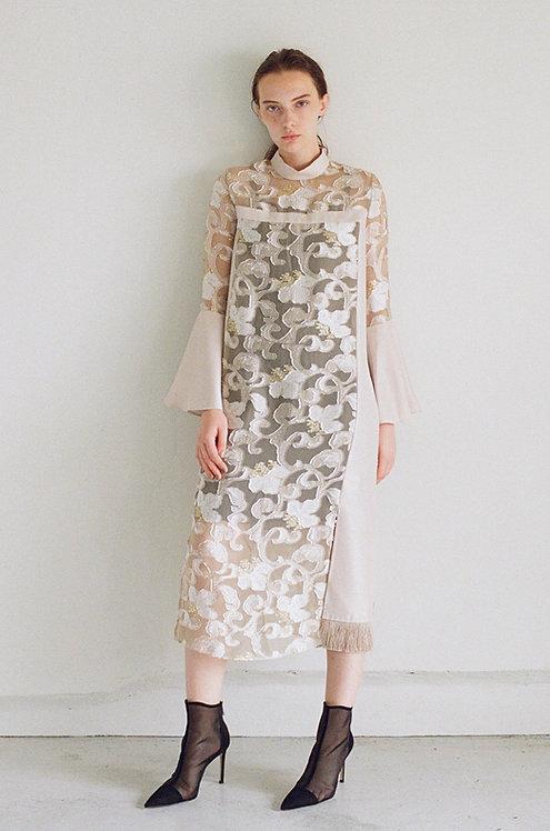 Flower cut jacuard Dress