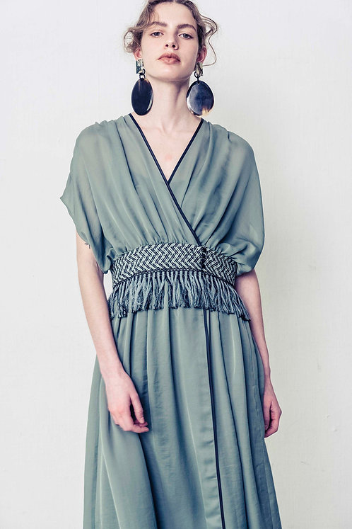 Chiffon Fringe Dress (BLUE GREEN)【受注生産】