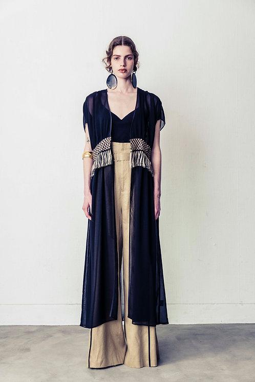 Chiffon Fringe Dress (BLACK)