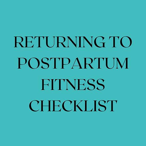 Return to Postpartum Fitness Checklist