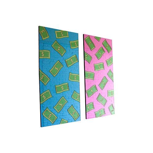 Raining Money Mirror Blue & Pink