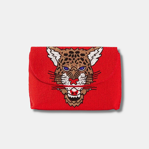 Red Leopard Clutch