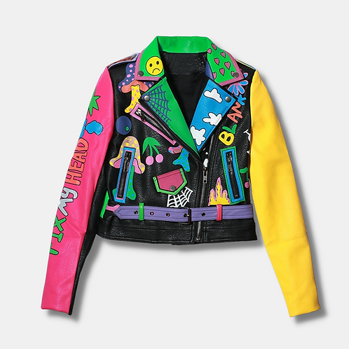 Patched colorful cropped Leather Jacket