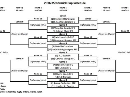 2016 McCormick Cup Schedule
