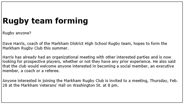 Original 1980 Markham Rugby Advertisement