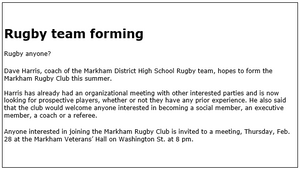 Original 1980 Markham Rugby Advertisement