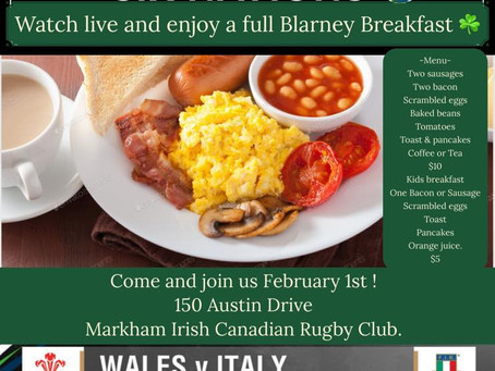 6 Nations + Blarney Breakfast = Great Day on Feb 1