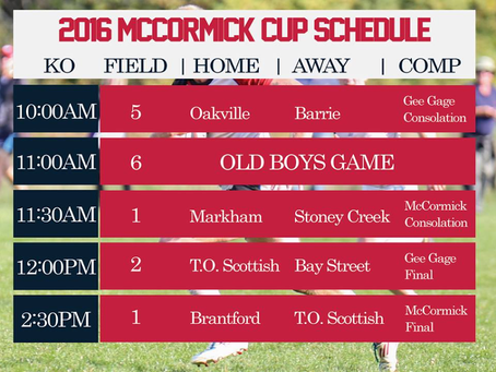 McCormick Cup Day Schedule Released