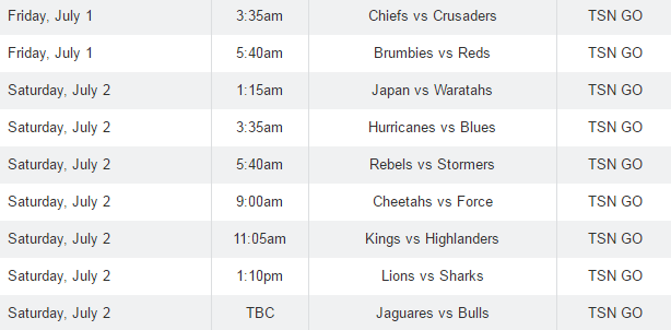 Canada Day TSN Rugby Schedule