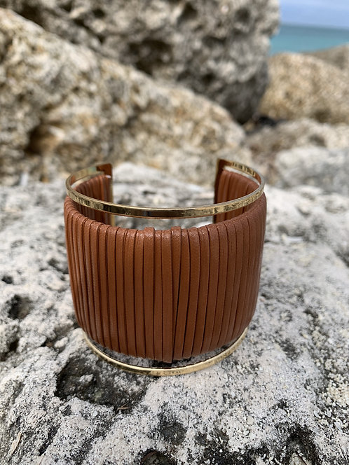 Savvy - Fawn leatherette wrapped gold cuff bracelet