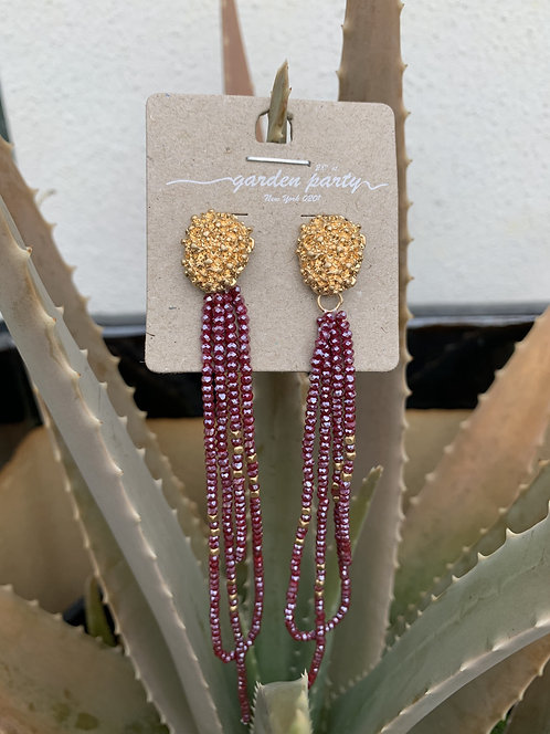 Symphony - Ruby beaded hanging earrings