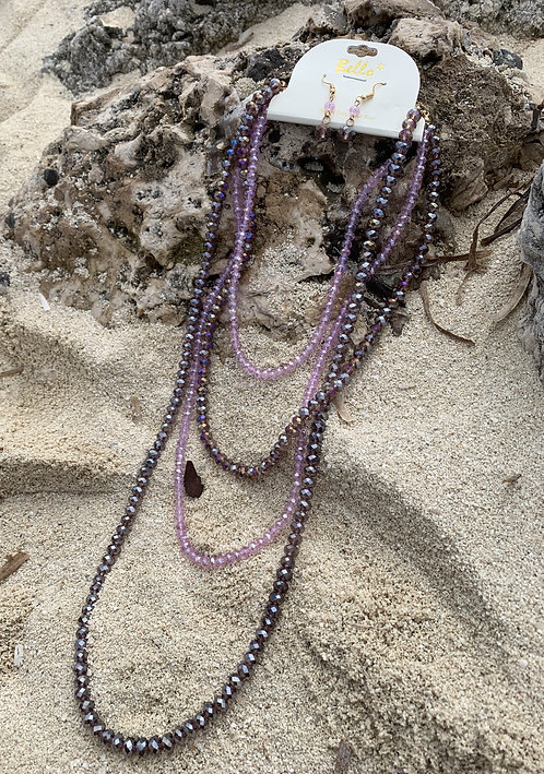 Bello - Purple 4-tier beaded necklace set